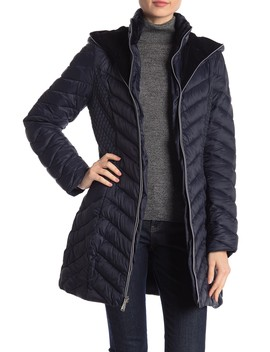 Velvet Lined Hooded Puffer Jacket by Laundry By Shelli Segal