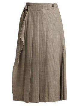 Fleet Pleated Houndstooth Skirt by Joseph