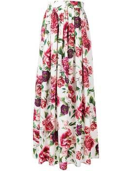 Peony Print Maxi Skirt by Dolce & Gabbana