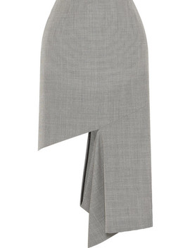 Cutout Houndstooth Cotton Midi Skirt by Maison Margiela