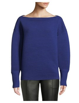 Boat Neck Full Sleeve Horizontal Ribbed Wool Sweater by Victoria Victoria Beckham