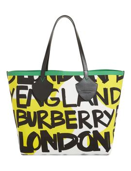 Giant Graffiti Print Reversible Tote by Burberry