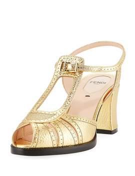 Chameleon Metallic Leather Block Heel Sandal by Fendi
