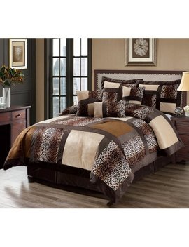 7 Piece Leopard Patchwork Faux Fur Microfiber Comforter Set by King Linen