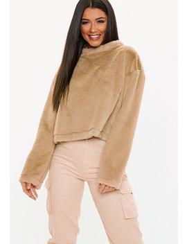 Camel Faux Fur Crew Neck Sweatshirt by Missguided