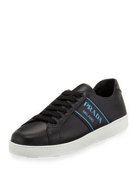 Blue Logo Platform Low Top Sneakers by Prada