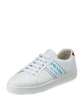 Blue Logo Platform Low Top Sneakers by Neiman Marcus