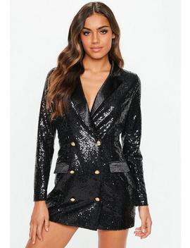 Petite Black Sequin Blazer Dress by Missguided