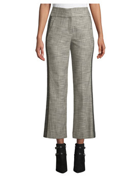 Cormac Plaid Cropped Trousers With Tuxedo Stripes by Veronica Beard
