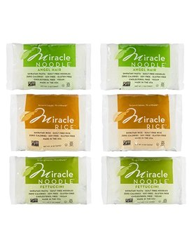 Miracle Noodle Shirataki Zero Carb, Gluten Free Pasta, 6 Bag Variety Pack, 44 Ounces (Includes: 2 Shirataki Angel Hair, 2 Shirataki Rice And 2 Shirataki Fettuccini) by Miracle Noodle