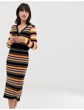 Asos Design Co Ord Skinny Rib Midi Skirt In Stripe by Asos Design