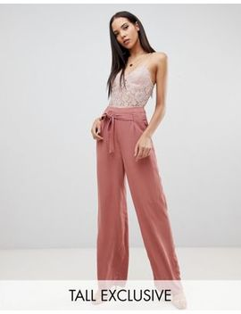 Missguided Tall Tie Waist Wide Leg Trouser In Mocha by Missguided Tall