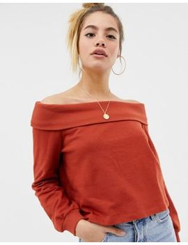 Asos Design Off Shoulder Sweat With Foldover In Rust by Asos Design