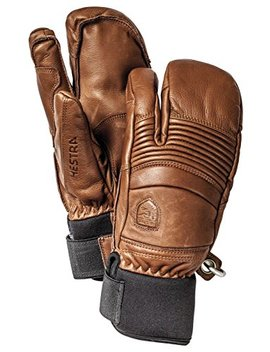 Hestra Mens Ski Gloves: Fall Line Winter Cold Weather Leather 3 Finger Mittens by Hestra