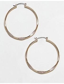 Asos Design Large Hoop Earrings With Flattened Detail In Gold by Asos Design