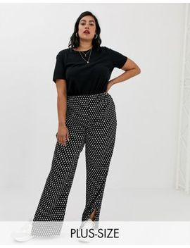 Glamorous Curve Plisse Trousers In Mini Spot by Glamorous