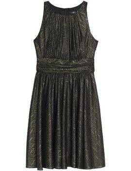 Pleated Metallic Jacquard Dress by Badgley Mischka
