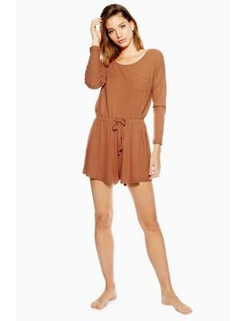 Brushed Ribbed Lounge Playsuit by Topshop
