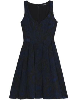Pleated Cloqué Jacquard Dress by Badgley Mischka
