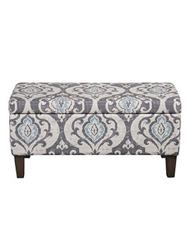 Home Pop Large Upholstered Rectangular Storage Ottoman Bench With Hinged Lid, Slate Damask by Home Pop