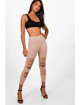 Cropped Distressed Detail Leggings by Boohoo