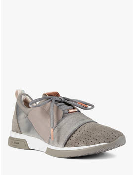 Ted Baker Cepap Lace Up Trainers, Mid Grey Suede by Ted Baker