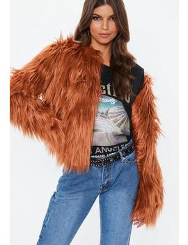 Rust Collarless Shaggy Coat by Missguided