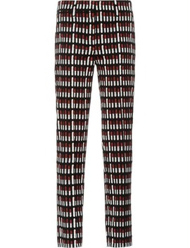 Lipstick Print Cropped Trousers by Prada