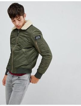 Schott Pilote Nylon Bomber Jacket Detachable Faux Fur Collar Slim Fit In Green/Beige by Schott