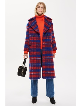 Brushed Check Zip Back Coat by Topshop