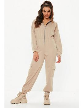 Camel Sweater Cargo Jumpsuit by Missguided