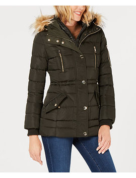 Faux Fur Trim Hooded Puffer Coat by Guess