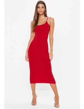 Red Scoop Neck Midi Dress by Missguided
