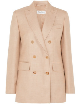 Double Breasted Camel Hair And Silk Blend Blazer by Max Mara