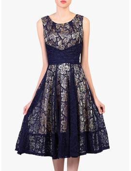 Jolie Moi Contrast Lace Dress, Navy by Jolie Moi