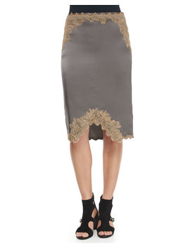 Izabella Lace Trim Silk Skirt, Brushed Nickel by Rag & Bone