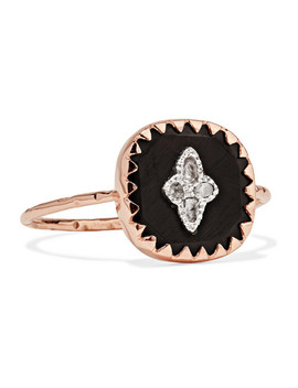 Pierrot 9 Karat Rose Gold, Bakelite And Diamond Ring by Pascale Monvoisin