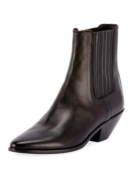 West Chelsea Leather Booties by Saint Laurent