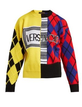 Argyle Knitted Wool Blend Sweater by Versace
