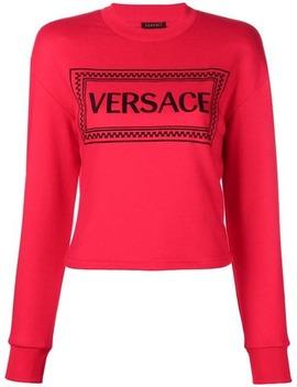 Embroidered Logo Sweatshirt by Versace