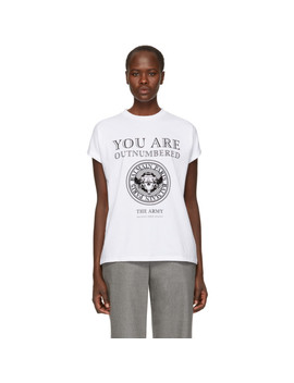 White 'outnumbered' T Shirt by Balmain