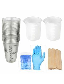 20 10oz Measuring Mixing Cups Epoxy Resin Cups 2 Silicone Cups 100ml With 50 Mixing Sticks 5 Nitrile Gloves For Epoxy Resin, Casting Molds, Slime, Clay, Paint, Art, Waxing, Kitchen by Let's Resin
