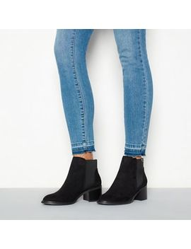 Faith   Black Suedette 'bianca' Mid Block Heel Ankle Boots by Faith