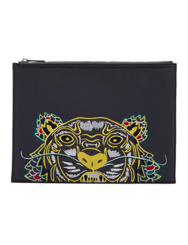 Grey Limited Edition Dragon Tiger A4 Pouch by Kenzo
