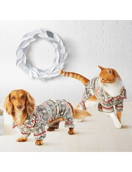 Pet Holiday Fuzzy Bear Fair Isle Pajamas   Wondershop™ White by Shop This Collection
