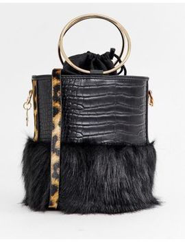 River Island Faux Fur Cylinder Bag In Black by River Island