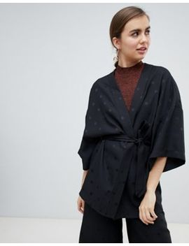 Monki Co Ord Kimono In Black Dots by Monki