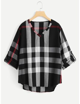 Plus V Neckline Dip Hem Checked Blouse by Sheinside
