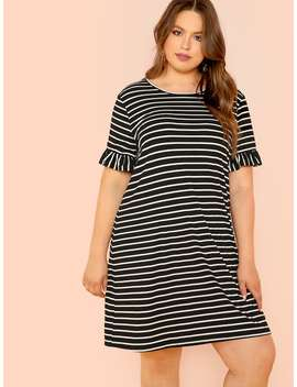 Plus Flounce Sleeve Striped Dress by Shein