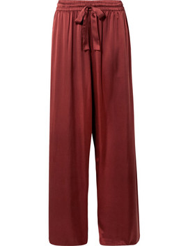 Washed Silk Satin High Rise Wide Leg Pants by Zimmermann